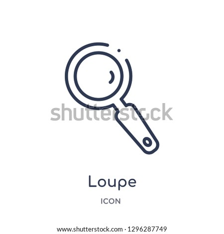 Linear loupe icon from Customer service outline collection. Thin line loupe icon vector isolated on white background. loupe trendy illustration