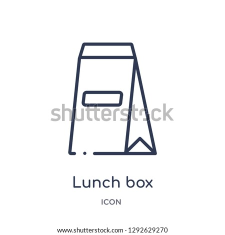 Linear lunch box icon from Education outline collection. Thin line lunch box icon vector isolated on white background. lunch box trendy illustration