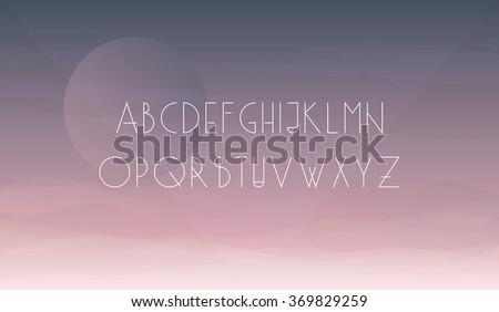 Linear minimalistic uppercase alphabet latin letters.