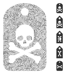 Linear mosaic death sticker icon united from thin items in various sizes and color hues. Vector linear items are united into abstract composition death sticker icon. Bonus icons are added.