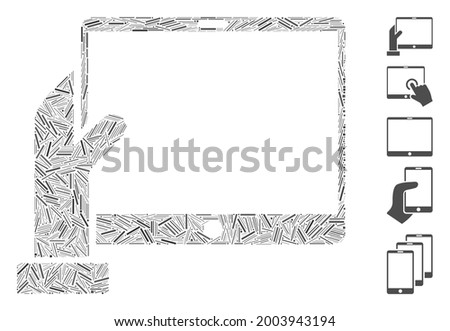 Linear mosaic hand holds PDA icon designed from straight items in random sizes and color hues. Vector linear items are organized into abstract collage hand holds PDA icon. Bonus pictograms are placed. Stock fotó ©