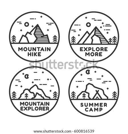 Linear mountain badge set. Mountain hike, mountain explorer, summer camp, explore more.