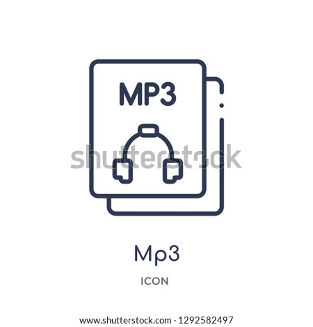 Linear mp3 icon from File type outline collection. Thin line mp3 icon vector isolated on white background. mp3 trendy illustration