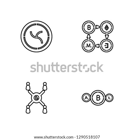 Linear Nem, Network, Network, Bitcoin Vector Illustration Of 4 outline Icons. Editable Pack Of Nem, Network, Network, Bitcoin