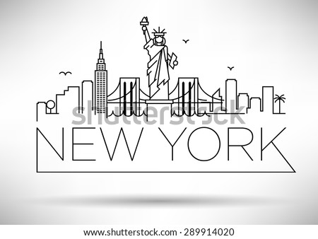linear new york city skyline