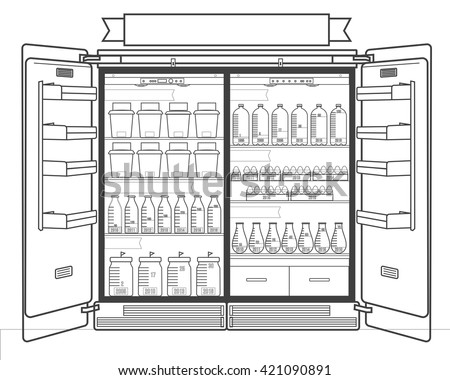 open refrigerator drawing. linear open refrigerator infographic element drawing