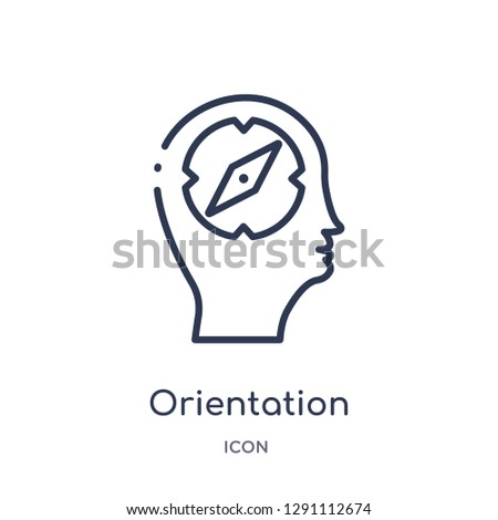 Linear orientation icon from Brain process outline collection. Thin line orientation vector isolated on white background. orientation trendy illustration