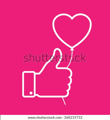 linear Outline white thumb up icon with heart balloon on red background, love vector illustration. Valentine's day card concept. Valentines day icon