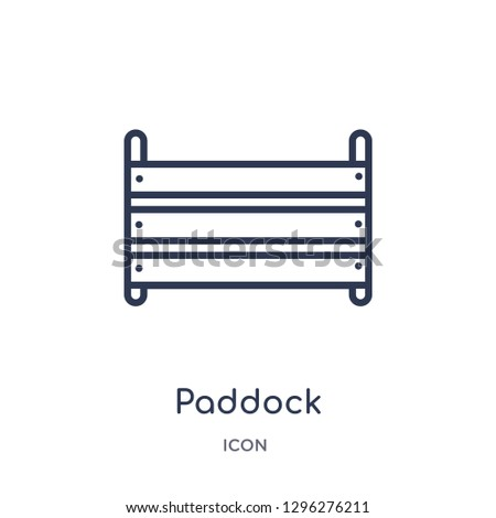 Linear paddock icon from Desert outline collection. Thin line paddock icon vector isolated on white background. paddock trendy illustration