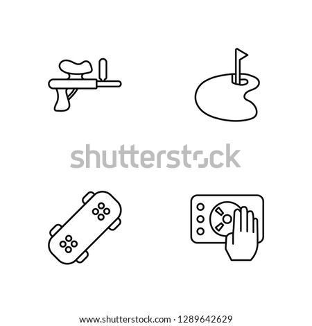Linear Paintball, Skateboard, Golf, Disc jockey Vector Illustration Of 4 outline Icons. Editable Pack Of Paintball, Skateboard, Golf, Disc jockey
