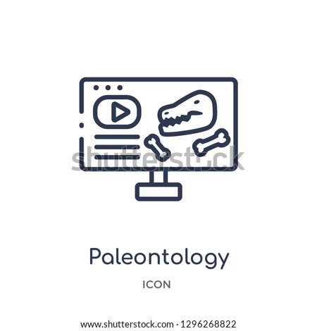 Linear paleontology icon from Elearning and education outline collection. Thin line paleontology icon vector isolated on white background. paleontology trendy illustration