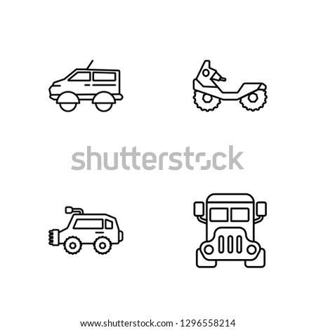 Linear People carrier, All terrain vehicle, All terrain vehicle Vector Illustration Of 4 outline Icons. Editable Pack Of People carrier, All terrain vehicle, All terrain vehicle