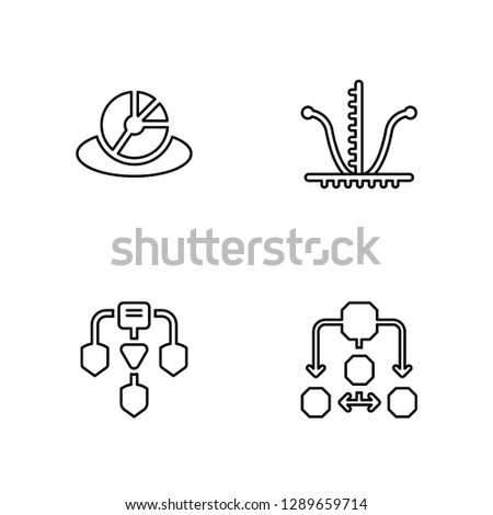 Linear Pie chart, Diagram, Tangent, Diagram Vector Illustration Of 4 outline Icons. Editable Pack Of Pie chart, Diagram, Tangent, Diagram
