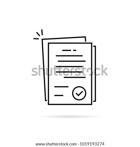 linear pile of license or contract documents. concept of doc checkup with approve seal or correct pact. contour flat trend modern research logo art graphic design isolated on white background
