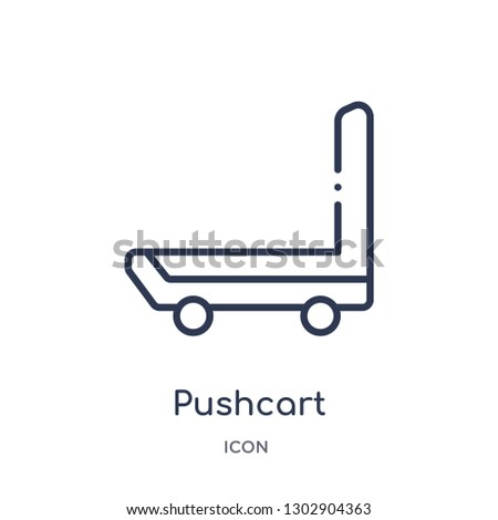 Linear pushcart icon from Industry outline collection. Thin line pushcart icon isolated on white background. pushcart trendy illustration