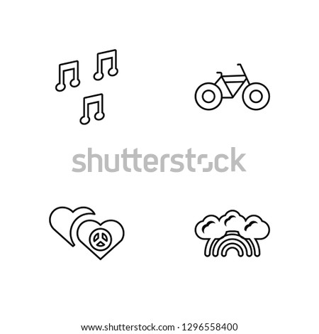 Linear Quaver, Hearts, Bicycle, Rainbow Vector Illustration Of 4 outline Icons. Editable Pack Of Quaver, Hearts, Bicycle, Rainbow