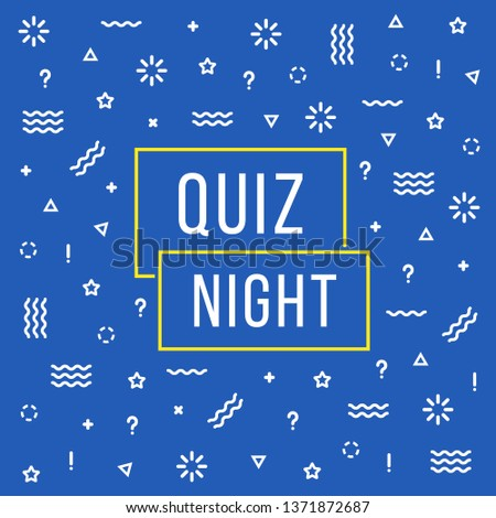 linear quiz night color banner. flat cartoon style trend modern minimal fyi logotype graphic invitation card art design element isolated on blue. concept of intellectual or mind games and competitions