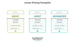 Linear rectangular pricing tables or cards with list of included options. Light, basic and advanced subscription plans or website accounts. Modern infographic design template. Vector illustration.