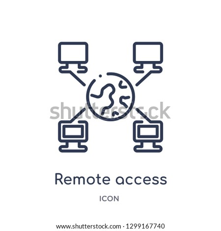 Linear remote access icon from Internet security and networking outline collection. Thin line remote access icon isolated on white background. remote access trendy illustration