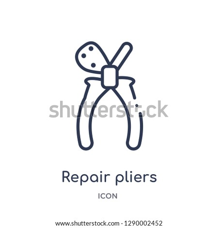 Linear repair pliers icon from Construction tools outline collection. Thin line repair pliers vector isolated on white background. repair pliers trendy illustration