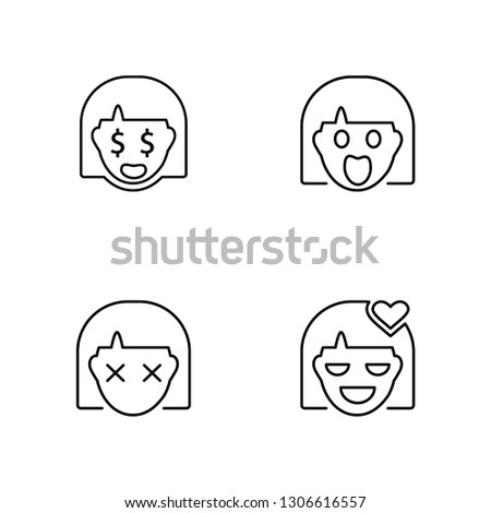 Linear Rich, Stunned, Shocked, In love Vector Illustration Of 4 outline Icons. Editable Pack Of Rich, Stunned, Shocked, In love