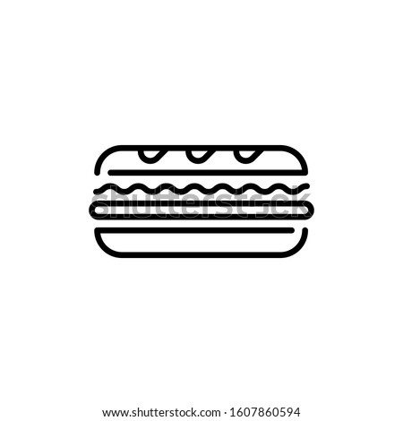 Linear sandwich icon template. Traditional sub logo background. Vector street fast food symbol illustration. Modern concept for bar, cafe, stall, delivery ストックフォト ©