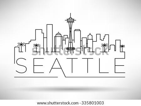 linear seattle city silhouette
