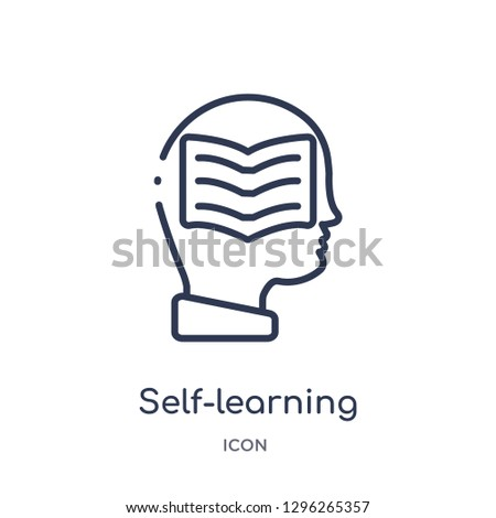 Linear self-learning icon from Elearning and education outline collection. Thin line self-learning icon vector isolated on white background. self-learning trendy illustration