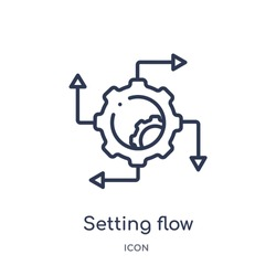 Linear setting flow interface icon from Business and analytics outline collection. Thin line setting flow interface vector isolated on white background. setting flow interface trendy illustration
