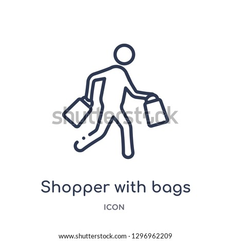 Linear shopper with bags icon from Commerce outline collection. Thin line shopper with bags icon isolated on white background. shopper with bags trendy illustration