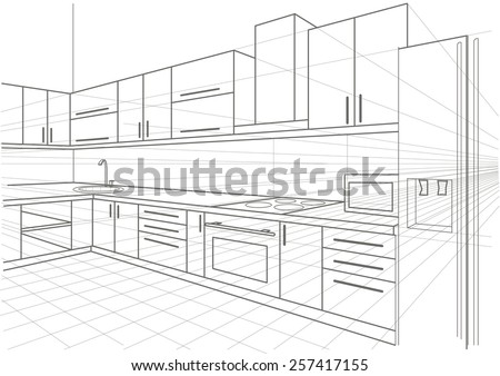 Linear Sketch Interior Kitchen Stock Vector Illustration 257417155 Shutterstock