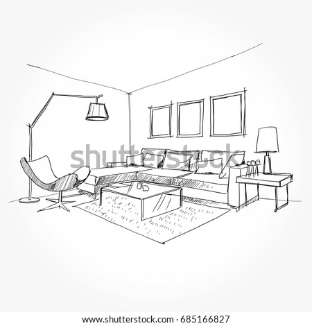 Linear sketch of an interior. Living room plan. Sketch Line sofa set. Vector illustration.outline sketch drawing perspective of a interior space.