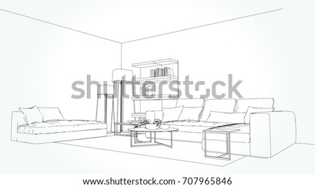 Picnetz Linear Sketch Of An Interior Living Room Plan Sketch