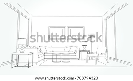 linear sketch of an interior