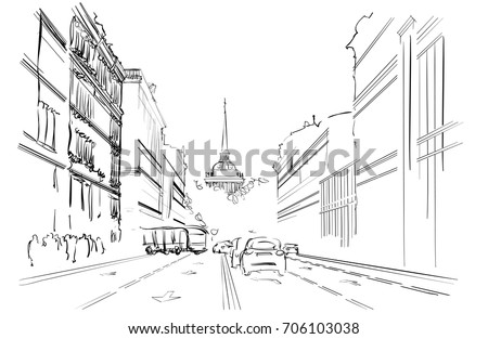 Linear Sketch of City Street on White Background. Vector Illustration of the Historical Architectural Ensemble. Freehand Realistic Drawing. Monochrome Linear Perspective Drawing. City Landscape
