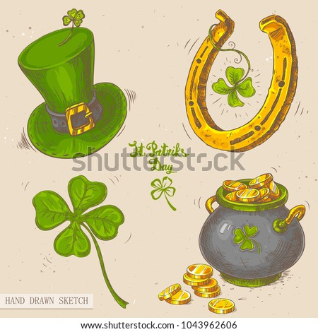 Linear sketch of the irish top hat, horseshoe, irish lucky four-leaf clover, pot of gold, golden coins, text St. Patrick's Day. Vector vintage hand drawn illustration on textured paper background.
