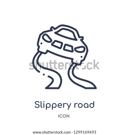Linear slippery road icon from Insurance outline collection. Thin line slippery road icon isolated on white background. slippery road trendy illustration