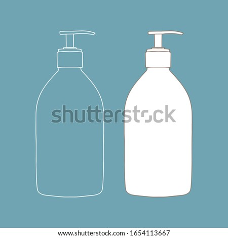 Linear soap bottle with pump. Cosmetic package collection for soaps. Vector illustration.