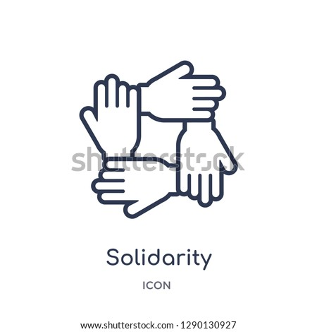 Linear solidarity icon from Charity outline collection. Thin line solidarity vector isolated on white background. solidarity trendy illustration