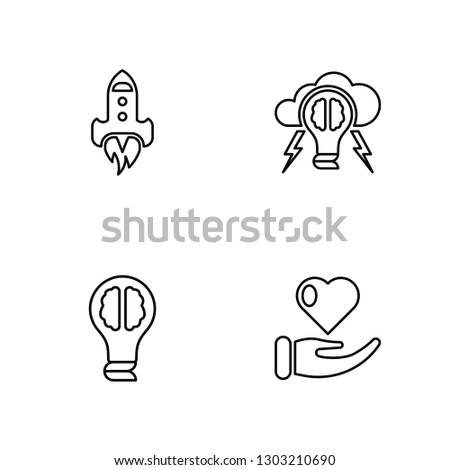 Linear Startup, Idea, Brainstorm, Charity Vector Illustration Of 4 outline Icons. Editable Pack Of Startup, Idea, Brainstorm, Charity