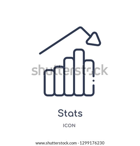 Linear stats icon from Industry outline collection. Thin line stats icon isolated on white background. stats trendy illustration