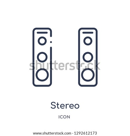 Linear stereo icon from Electronic devices outline collection. Thin line stereo icon vector isolated on white background. stereo trendy illustration