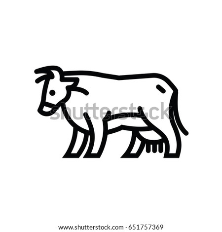 Linear stylized drawing of going cow