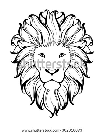 linear stylized lion black and