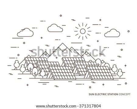 Linear sun electric station (solar energy park, solar power station) vector illustration. Solar power engineering (solar power plant) creative concept. Solar cell panel graphic design.