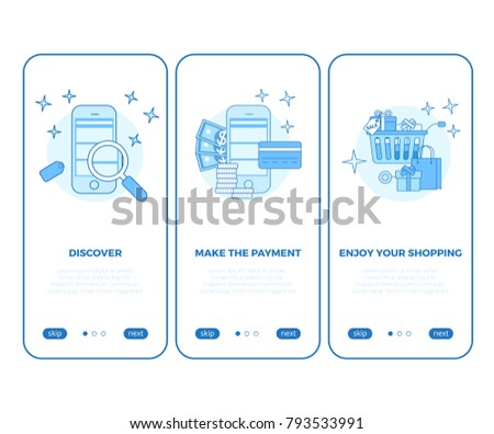 Linear Tablet smartphone buy online shopping e-commerce store flat web infographic mobile vector electronic business sales icon interface. Shop cart product screen application. Search and payment app