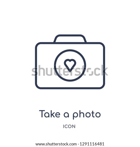Linear take a photo icon from Birthday party outline collection. Thin line take a photo vector isolated on white background. take a photo trendy illustration