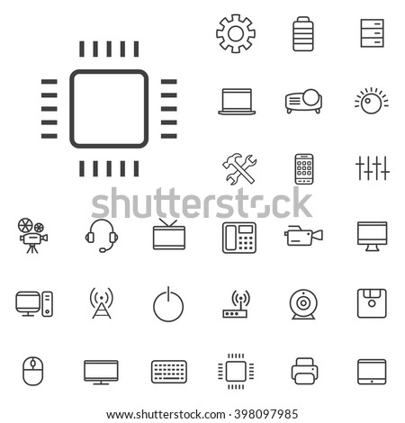 Linear technology icons set. Universal technology icon to use in web and mobile UI, technology basic UI elements set