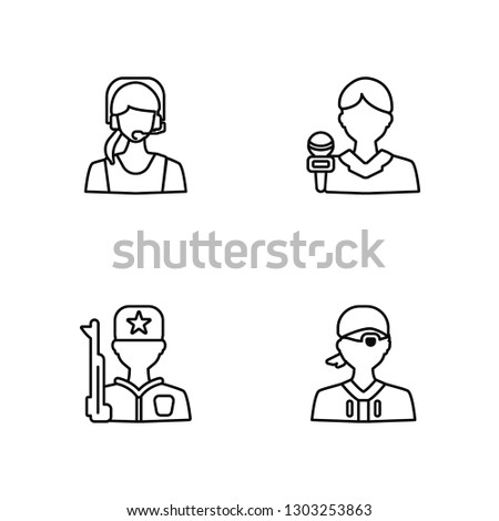 Linear Telemarketer, Guard, Reporter, Pirate Vector Illustration Of 4 outline Icons. Editable Pack Of Telemarketer, Guard, Reporter, Pirate