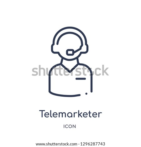 Linear telemarketer icon from Customer service outline collection. Thin line telemarketer icon vector isolated on white background. telemarketer trendy illustration